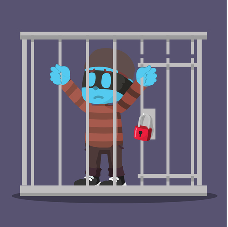 Blue thief getting jailed– stock illustration