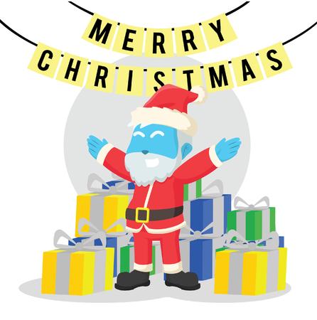 Blue santa with lots of presents– stock illustration Illustration