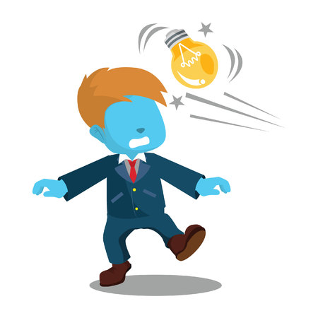 Blue businessman getting hit with bulb– stock illustration