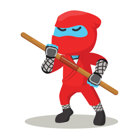 Blue ninja holding stick– stock illustration Illustration
