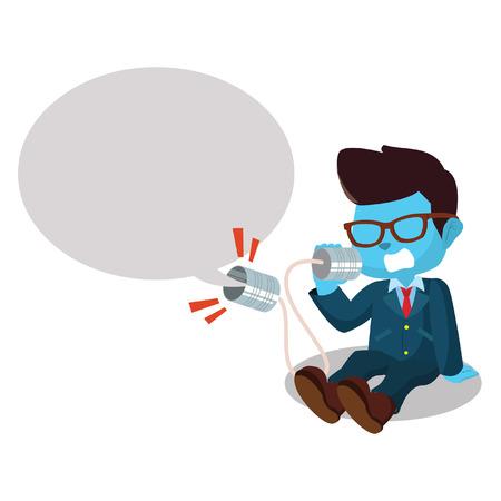 Blue businessman shouting on can phone– stock illustration Ilustração