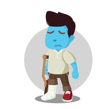 Blue man with broken leg– stock illustration Illustration