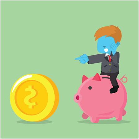 Blue businessman riding piggybank chasing coin concept illustration.