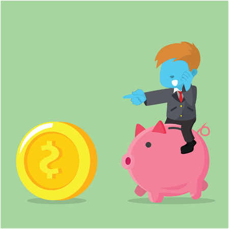 Blue businessman riding piggybank chasing coin concept illustration.
