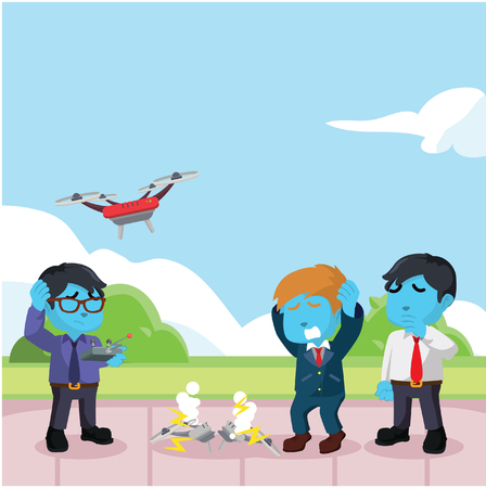 Blue businessman drone broken because of his friend– stock illustration