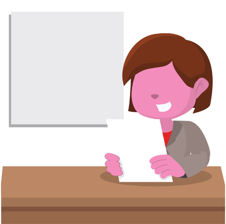 Pink girl news anchor– stock illustration