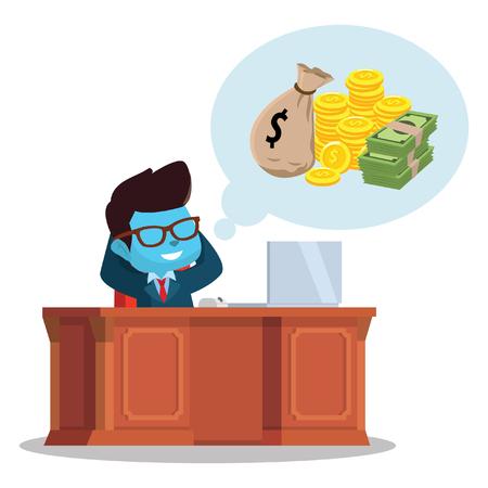 """お金について考える青いビジネスマン""""株式イラスト"""