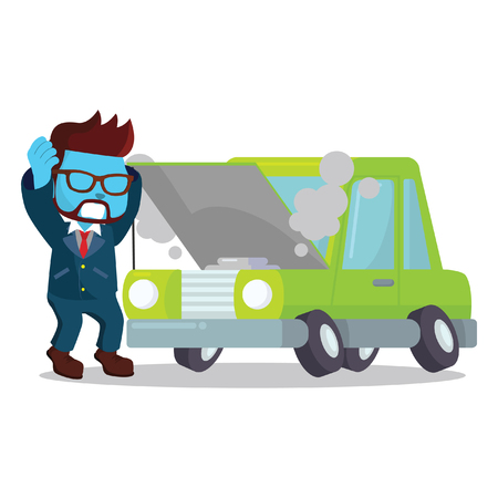 Blue businessman panicked broken car– stock illustration