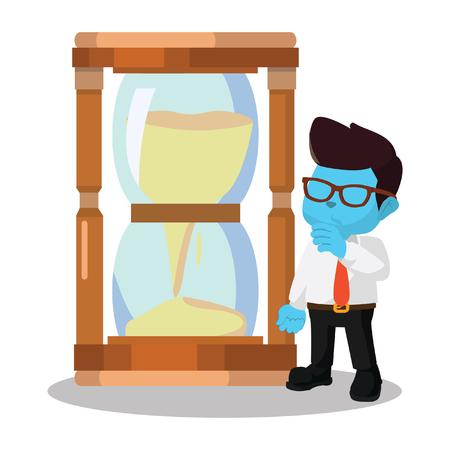 Blue businessman with giant hourglass– stock illustration Çizim