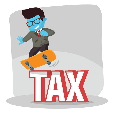 Blue businessman dodge tax with skateboard– stock illustration