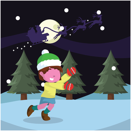 Pink girl chasing santa– stock illustration