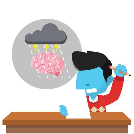 Blauwe jongen hersenen bestorming stock illustratie Stock Illustratie