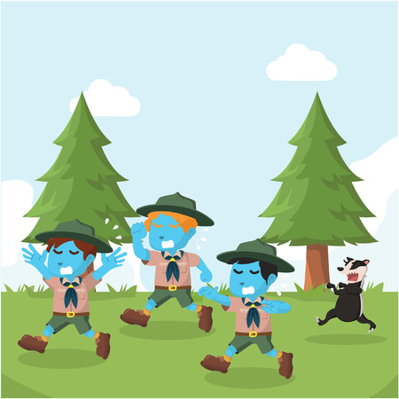Group of blue boyscout chased by honey badger– stock illustration Illustration