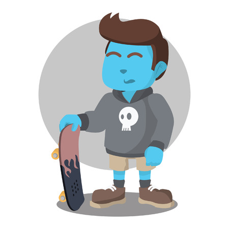 Blue skater boy pose stock illustration.
