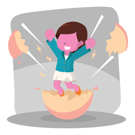 Pink businesswoman hatching from egg– stock illustration