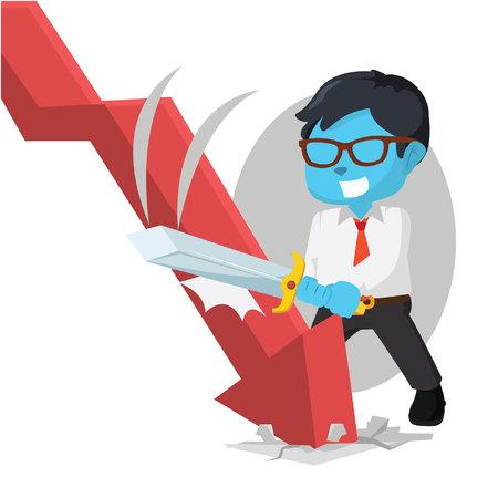 Blue businessman destroying downward graphic– stock illustration