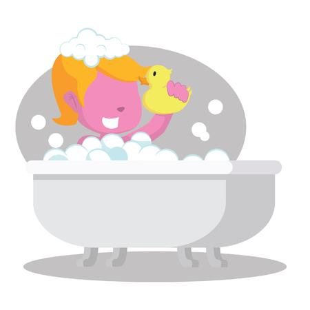 Pink girl in bathtub stock illustration.