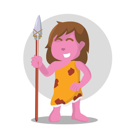 Pink cave woman holding spear stone– stock illustration