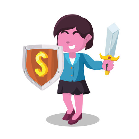 Pink businesswoman holding shield money and sword in stock illustration.