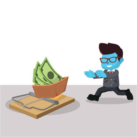 Blauwe zakenman die net in de voorraadillustratie van de val loopt