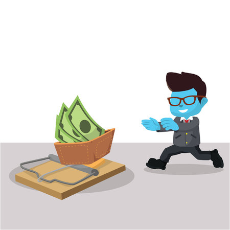 Blue businessman running right into trap– stock illustration
