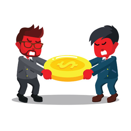 Red businessman scramble money with red businessman evil– stock illustration Ilustrace