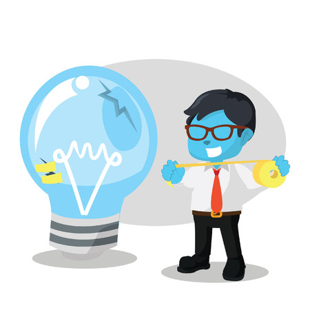 Blue businessman use duct tape to fix bulb– stock illustration