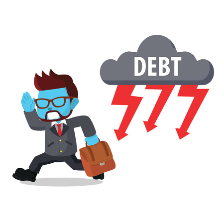 Blue businessman running from debt thunder stock illustration.