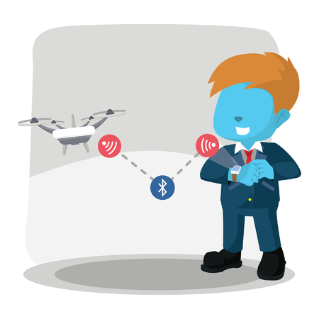 Blue businessman controlling drone with smart watch– stock illustration Illustration