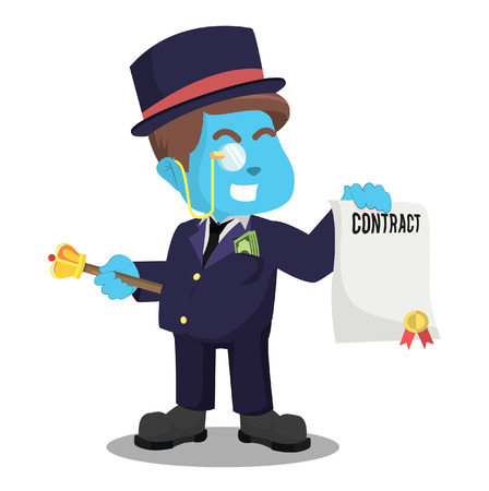 Blue fat rich man holding contract– stock illustration Ilustração