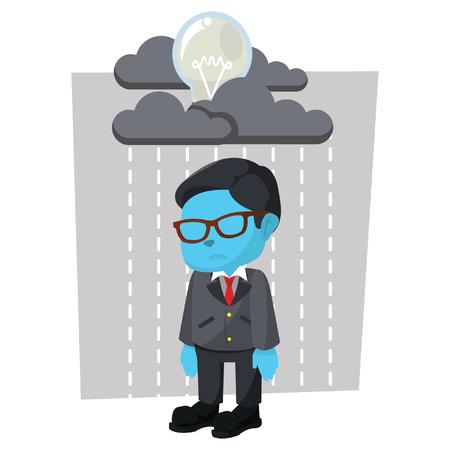 Blue businessman with raining bulb– stock illustration