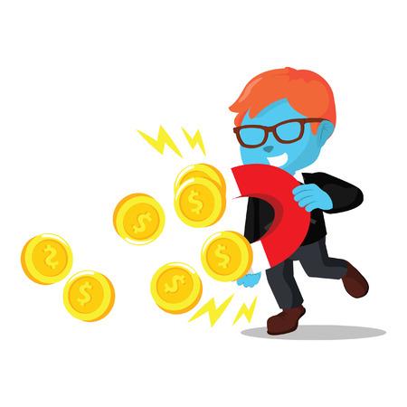 Blue businessman magneting coin– stock illustration