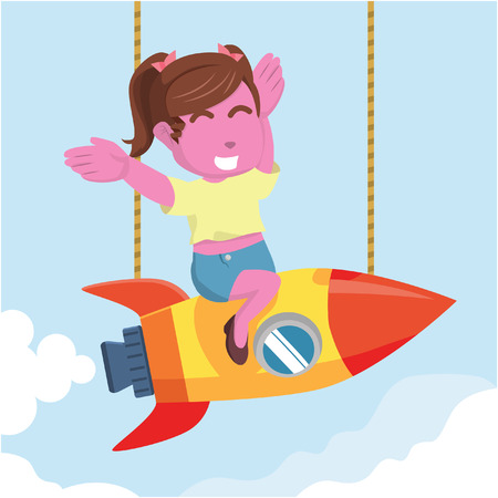 Pink beauty girl happy twin tail on rocket– stock illustration 向量圖像