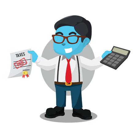 De blauwe calculator van de accountantholding en betaalde belastingen in voorraadillustratie.