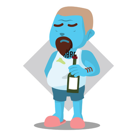 Blue dirty man holding alcohol– stock illustration