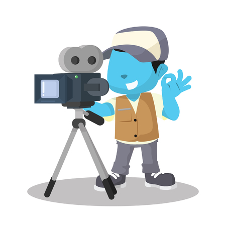 Blue boy movie cameraman recording– stock illustration