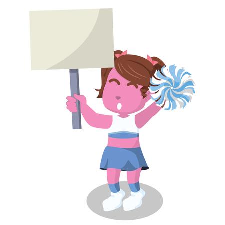 Pink cheerleader holding sign colorful– stock illustration Çizim