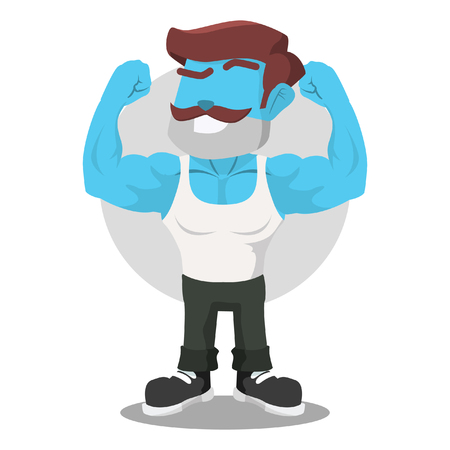 Blue body builder illustration design– stock illustration
