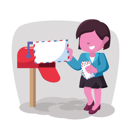 Pink businesswoman receiving mail– stock illustration