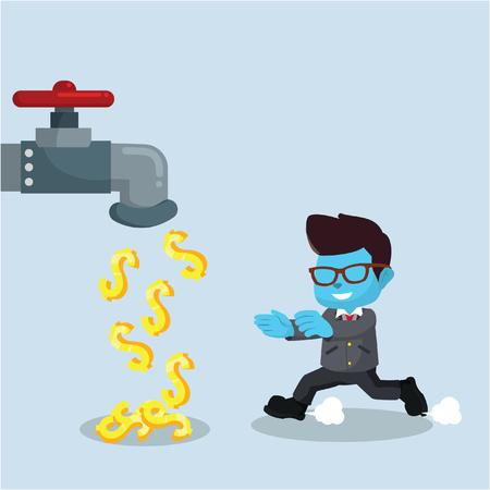 Blauwe zakenman met geldtapkraan in voorraadillustratie