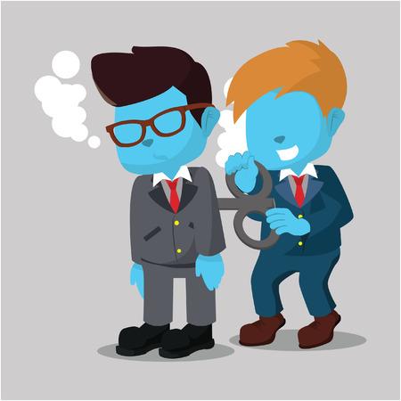 Blauwe zakenman die zijn vriend helpt Stock Illustratie