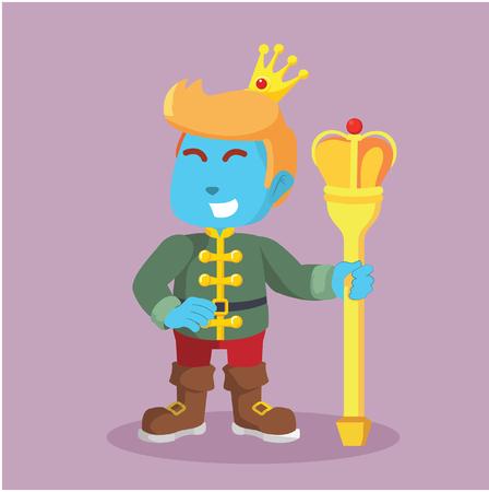 ●ストックイラストで王冠をかぶる青い王子様。