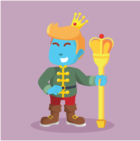 Blue prince holding wearing crown in stock illustration.