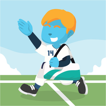 Blauwe honkbalspeler draagtas na matchà ¢ â?¬â ? ? stockillustratie