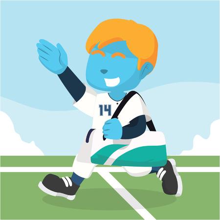 Blue baseball player carrying bag after match– stock illustration