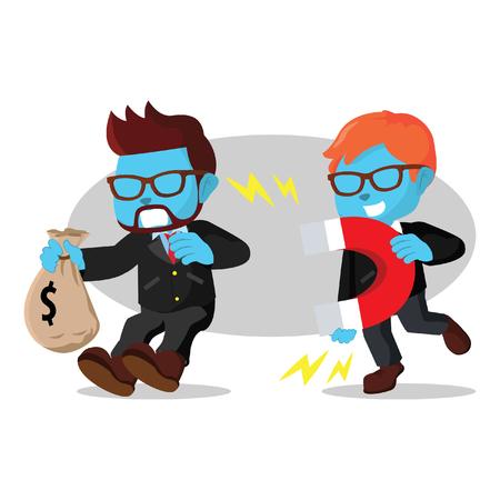 Blue businessman magneting other blue businessman in stock illustration. Illustration