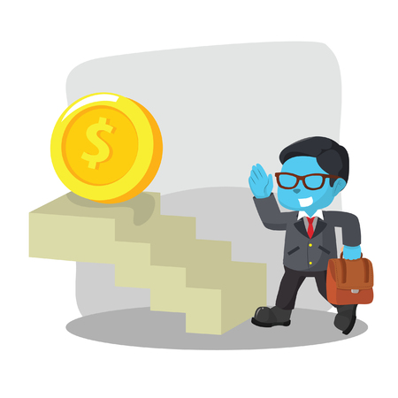 Blue businessman taking stair to coin– stock illustration