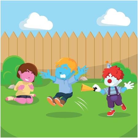 Menino azul surpreendeu menino clownâ ? ? stock stock Ilustración de vector
