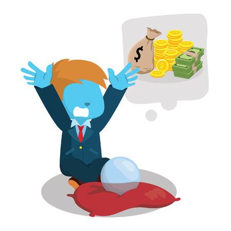 Blauwe zakenman die heel wat illustratie van de geldvoorraad wenst.