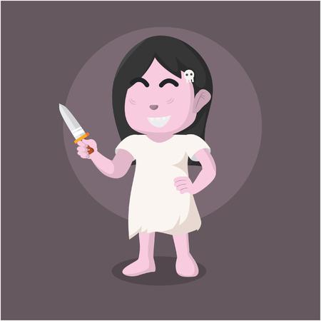 Ghost girl holding knife– stock illustration